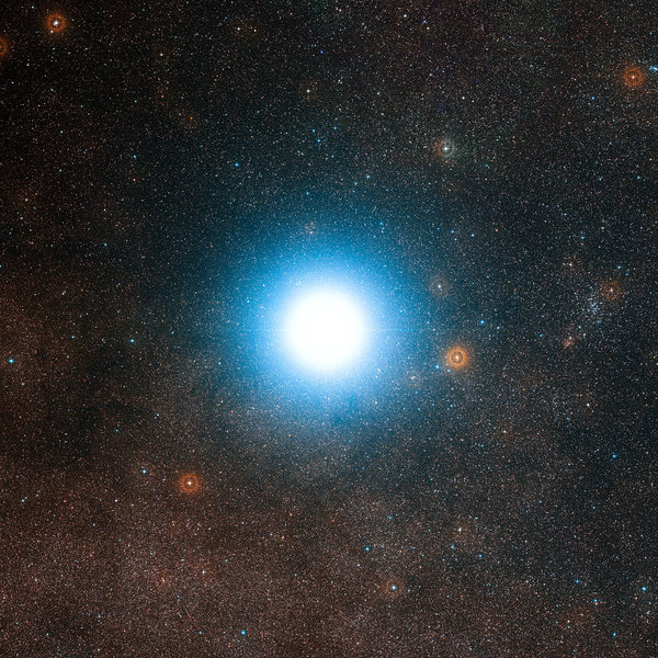 Alpha Centauri, the closest star system to Earth's solar system. An effort led by the billionaire Yuri Milner aims to send a fleet of small probes there. (European Southern Observatory)