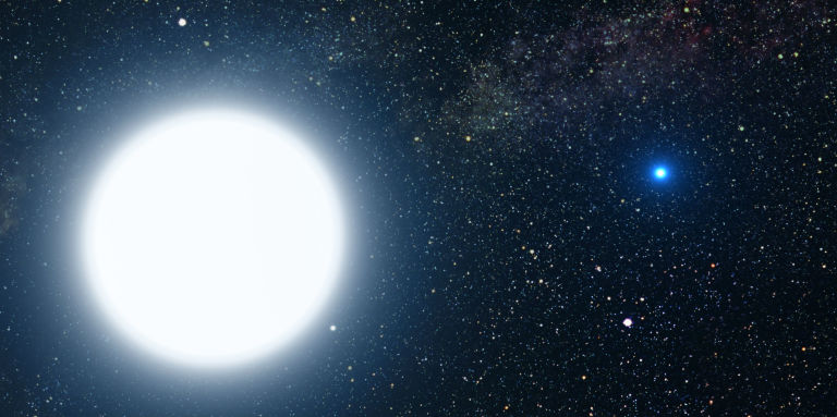 An artist's depiction of white dwarf stars Sirius A and B.