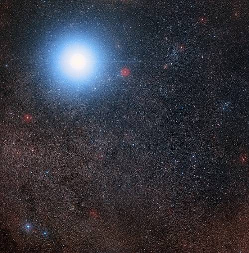 The bright star is Alpha Centauri AB and Proxima Centauri is the fainter red dwarf star  [Photo credit: Digitized Sky Survey 2, Acknowledgement: Davide De Martin/Mahdi Zamani]