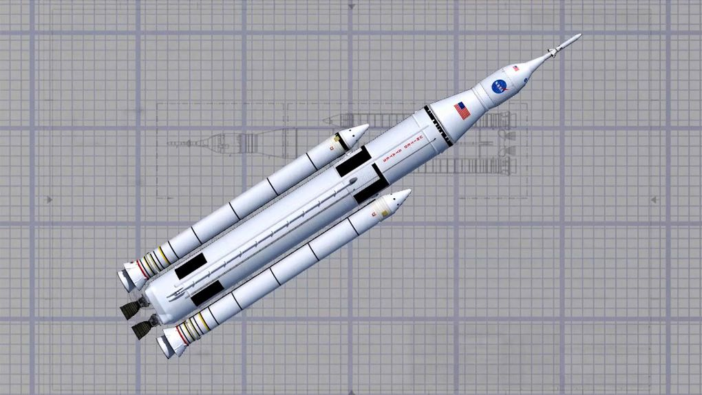 Artist's rendering of a blueprint of the completed Space Launch System. (NASA/MSFC)