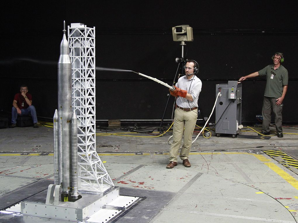 NASA engineers used a 67.5-inch model to test how environmental factors including wind and water would affect the rocket on the launchpad. (Credit: NASA/LaRC)